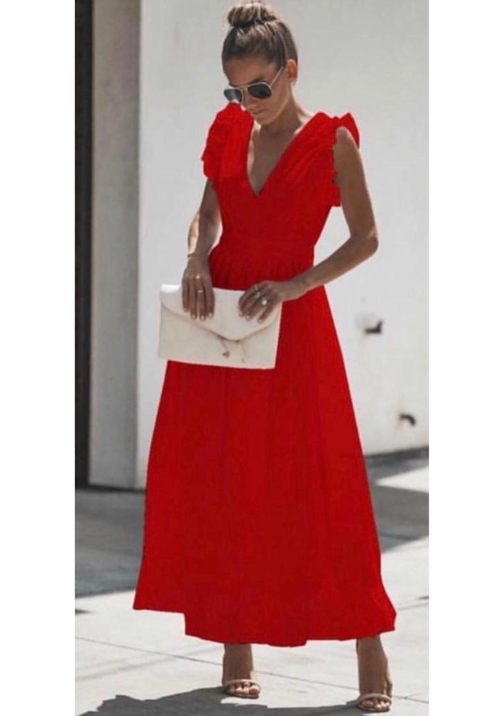 Sırt Dekolteli Eteği Volanlı Maxı Boy Elbise (Kırmızı)