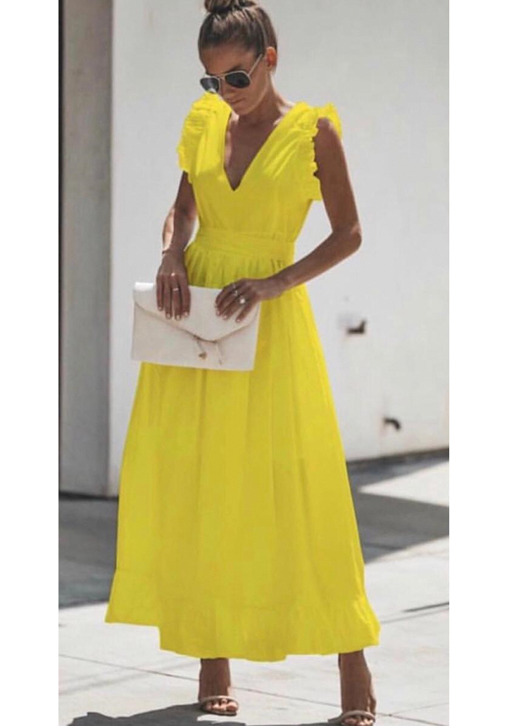 Sırt Dekolteli Eteği Volanlı Maxı Boy Elbise (Sarı)