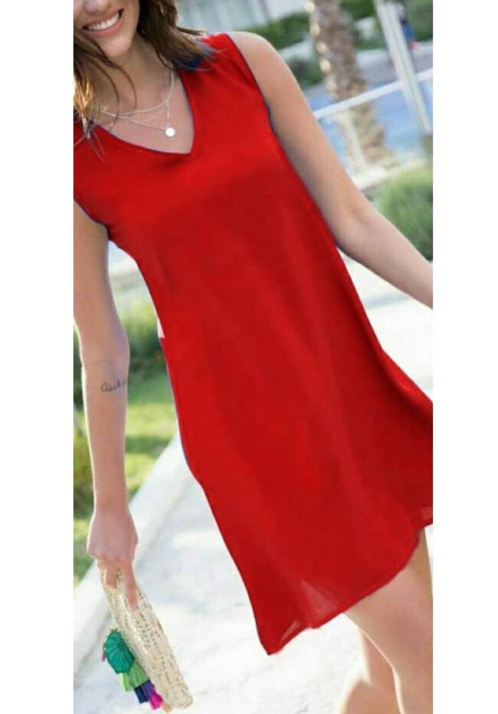 Kırmızı kolsuz V yaka mini elbise