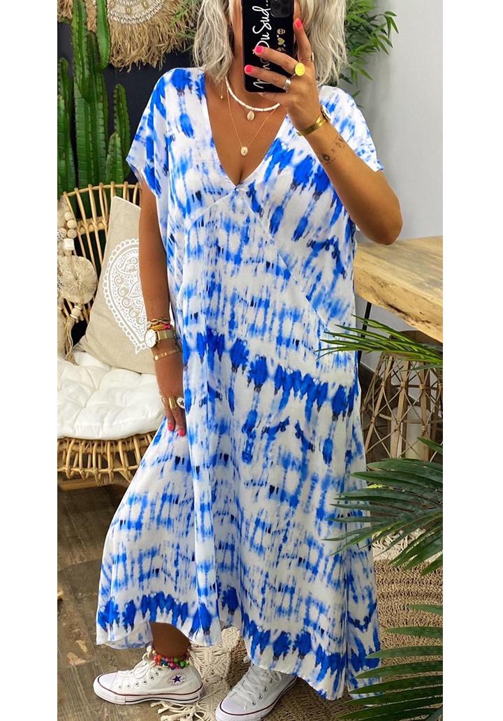 V Yaka Maxı Boy Batik Elbise (Mavi)