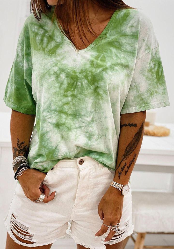 V Yaka Batik Basic Tshırt (Yeşil)