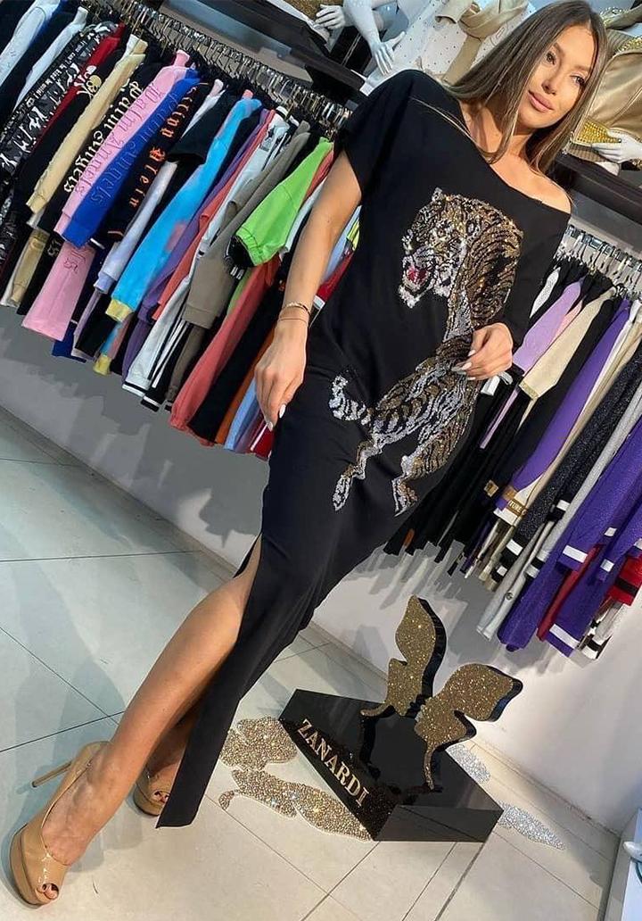 Taş İşleme Kaplan Figur Yırtmaçlı Elbise