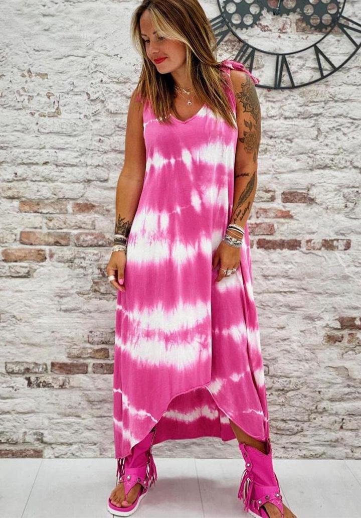 Asimetrik Kesim Micro Batik Elbise (Pembe)