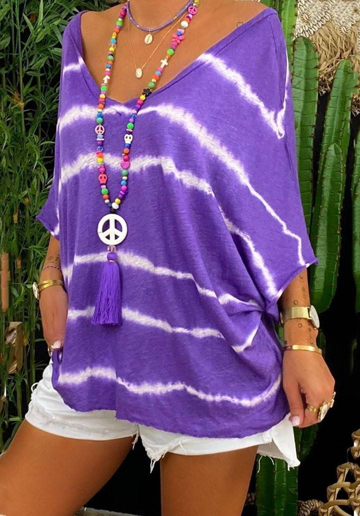 Önü arkası V yaka batik desen bluz(mor)