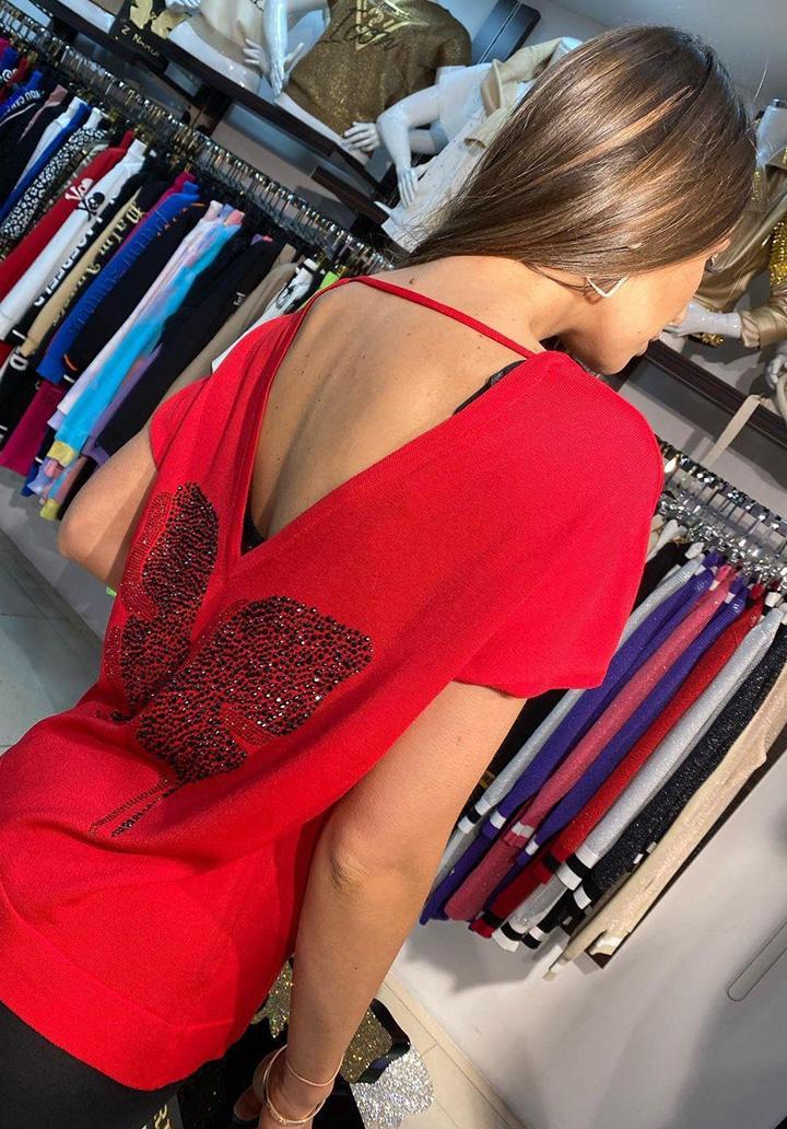 Sırt Dekolteli Kelebek İşleme Bluz (Kırmızı)