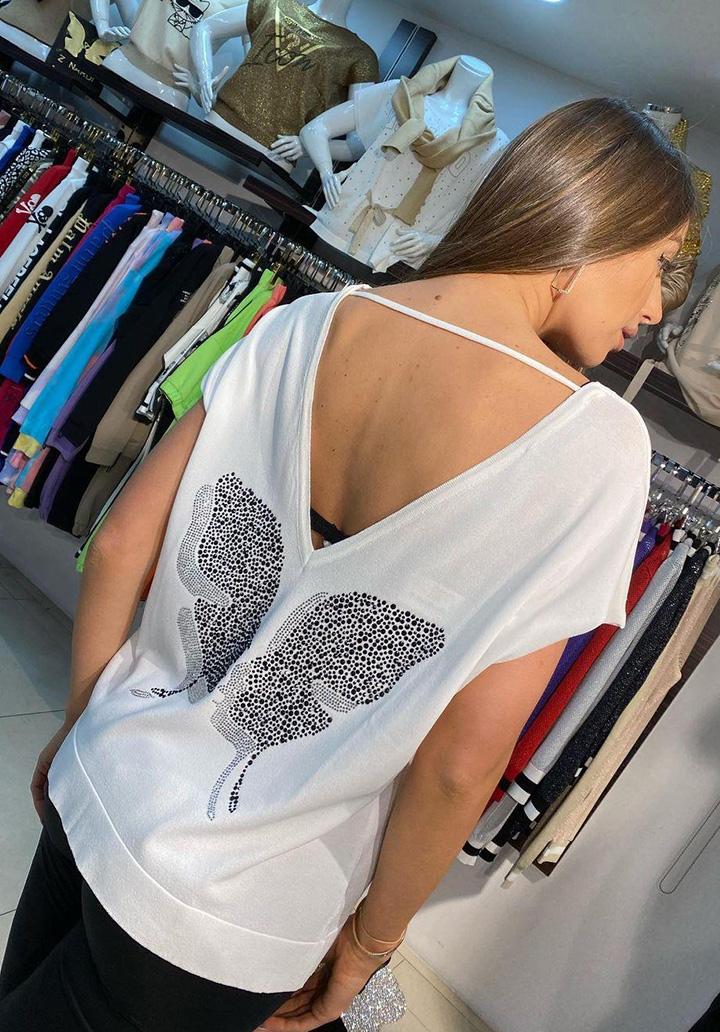 Sırt Dekolteli Kelebek İşleme Bluz (Beyaz)