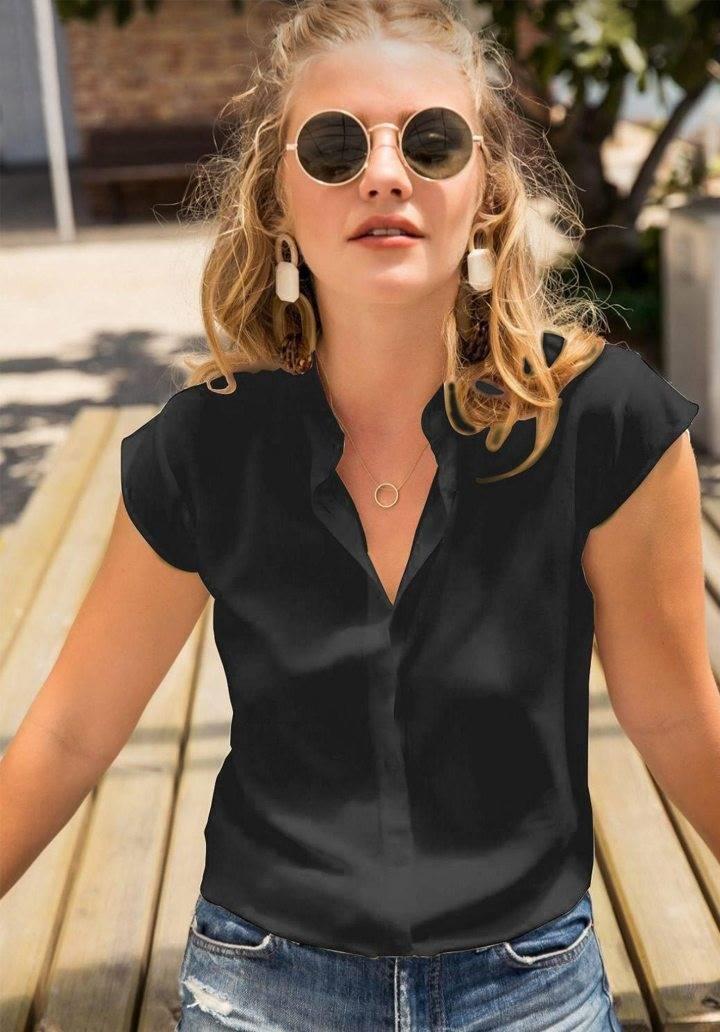 Siyah viscon basic gömlek