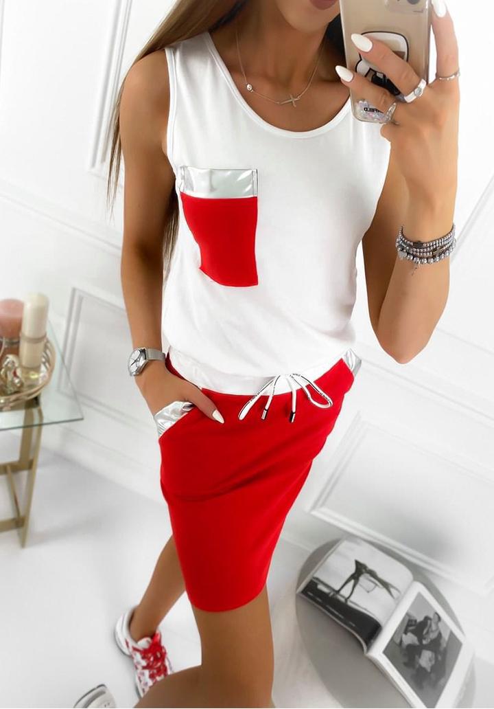 Cep Detay Etek Bluz İkili Takım (Kırmızı)