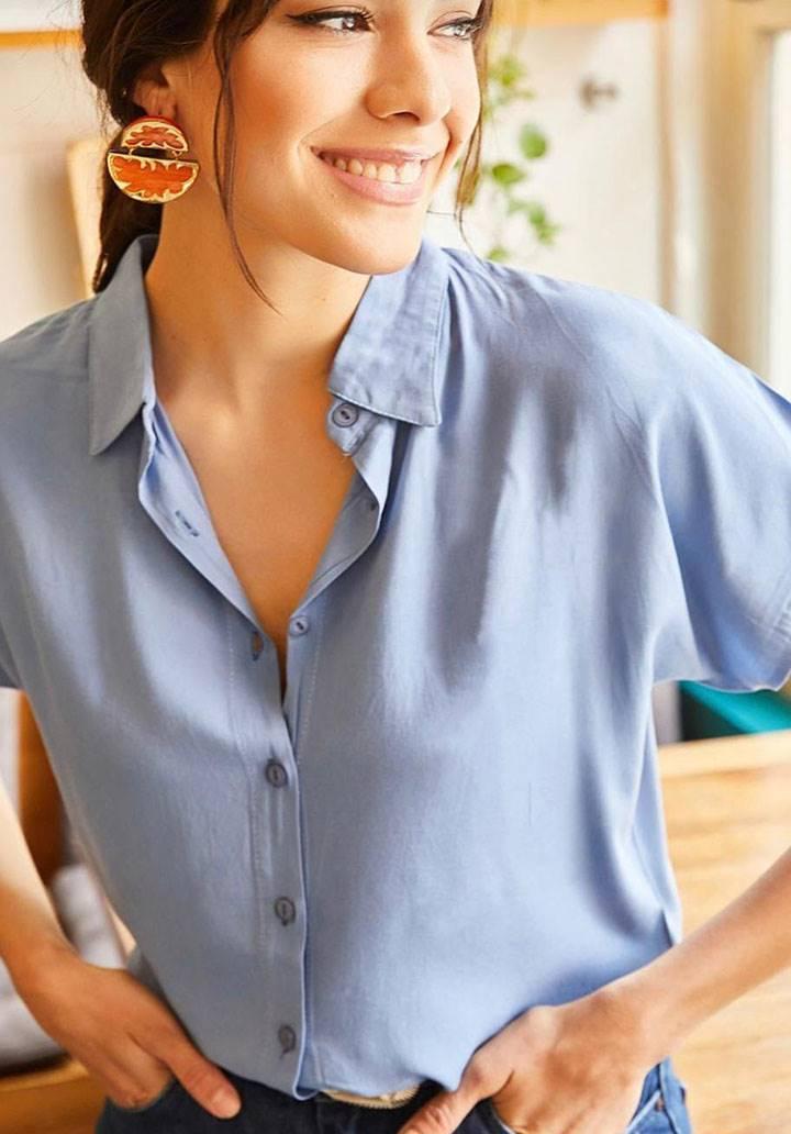 Mavi viscon basic gömlek