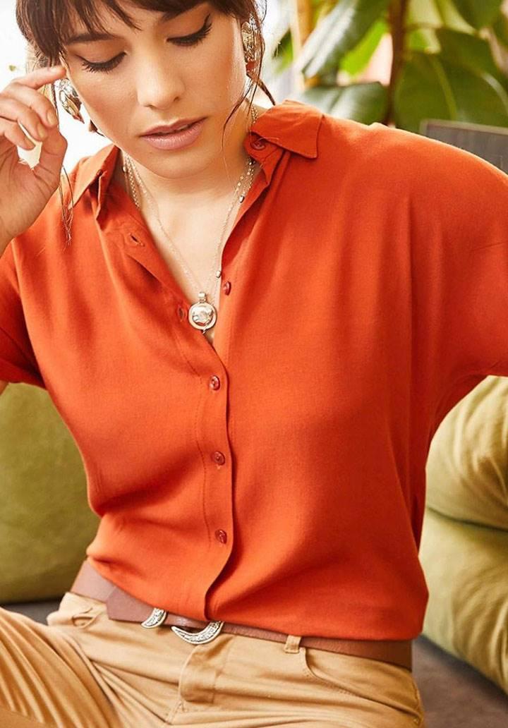 Orange viscon basic gömlek