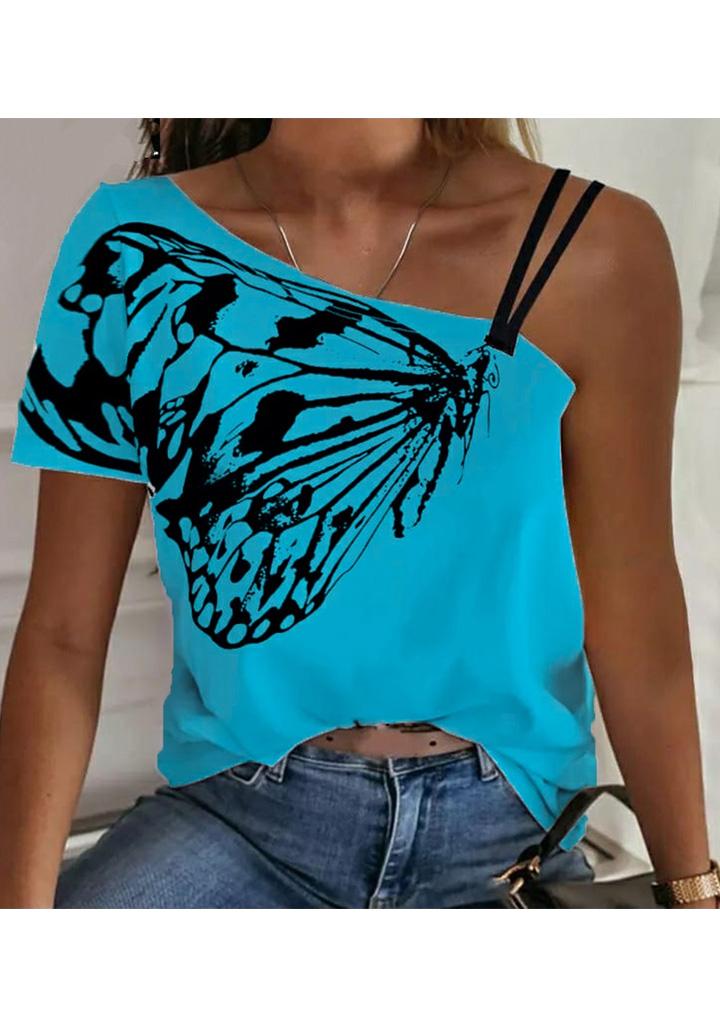 Kelebek Desen Omuz Dekolteli Tshırt (Mavi)