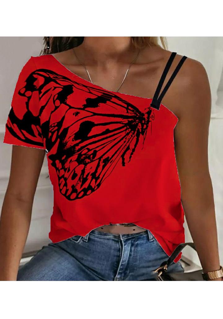 Kelebek Desen Omuz Dekolteli Tshırt (Kırmızı)