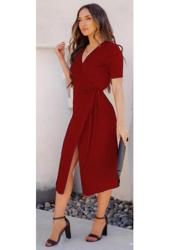 Beli Kuşaklı Anvelop Elbise (Bordo)