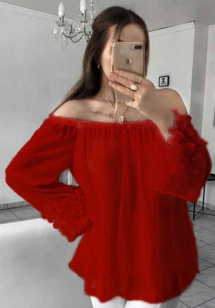 Madonna Yaka Kol Detaylı Şifon Bluz (Bordo)