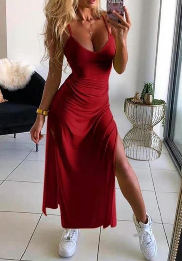 İp Askılı Yırtmaç Detay Elbise (Bordo)