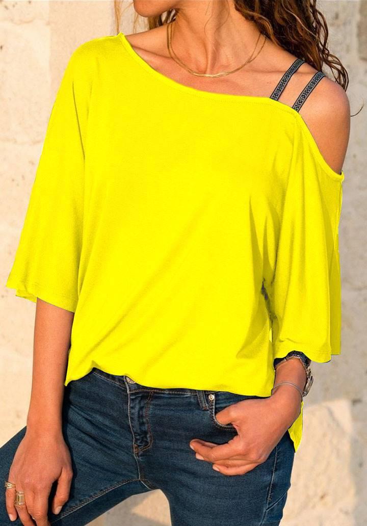 Çift askılı omuz dekolteli bluz(sarı)
