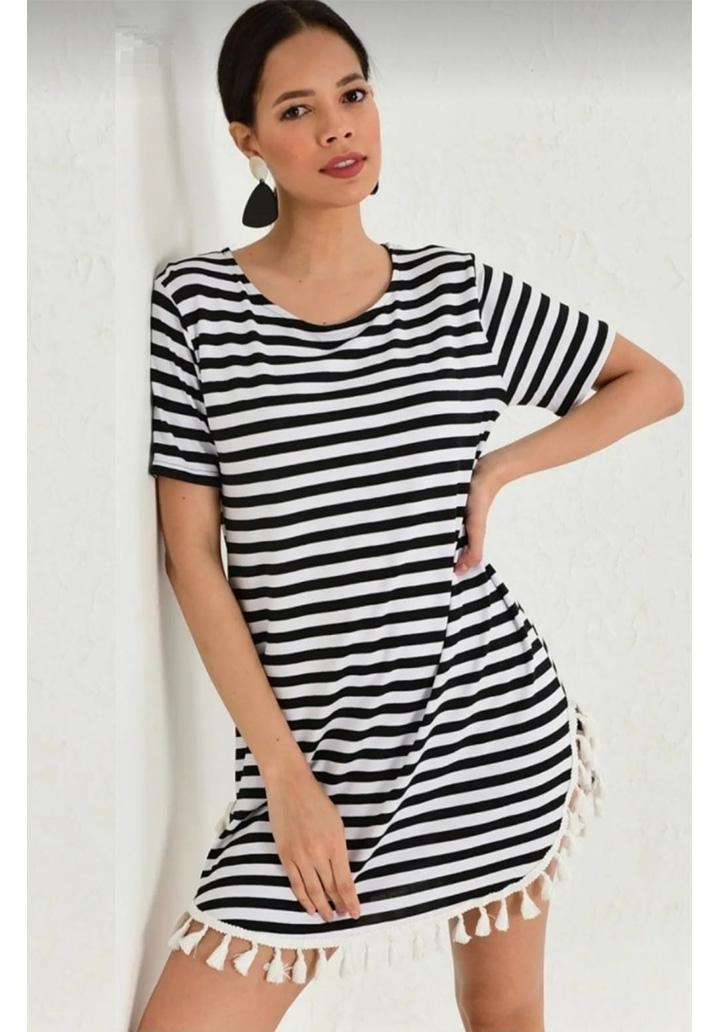 Eteği Saçaklı Çizgili Mini Elbise-Tunik - 1