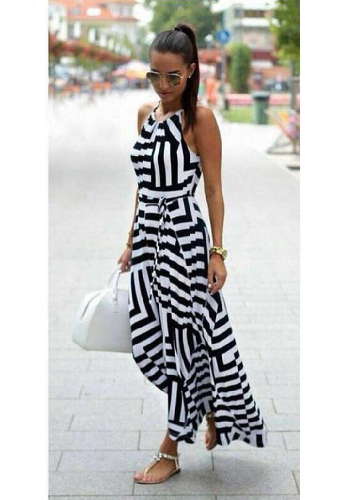 Zebra Desen Maxı Boy Elbise (Siyah) - 1