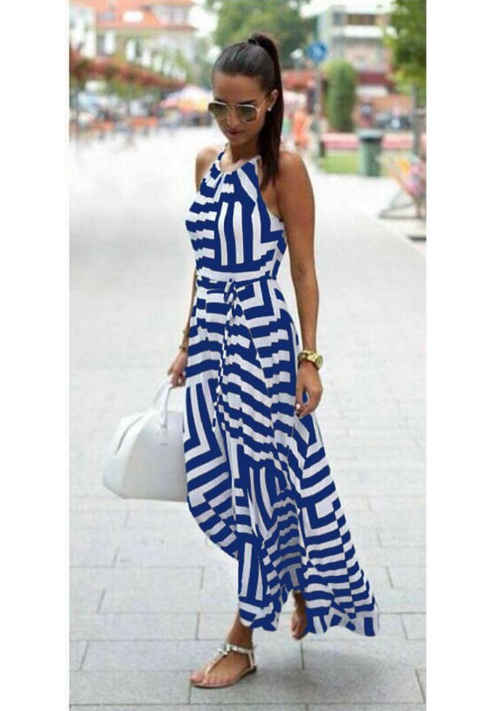 Zebra Desen Maxı Boy Elbise (Mavi) - 1