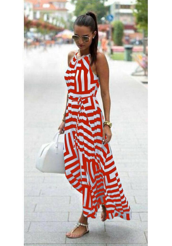 Zebra Desen Maxı Boy Elbise (Kırmızı) - 1