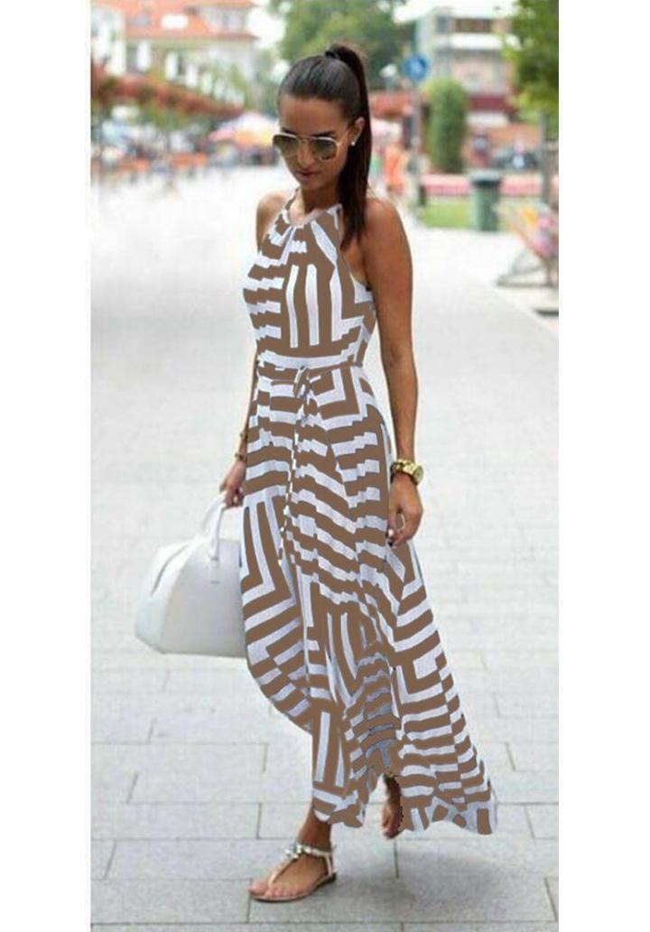 Zebra Desen Maxı Boy Elbise (Vizon) - 1