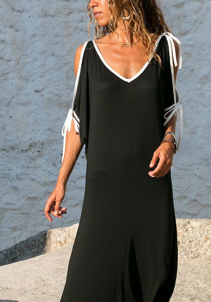 V Yaka Omuz Dekolteli Salaş Elbise - 1