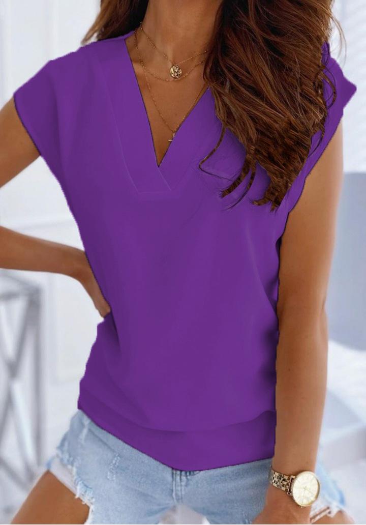 V Yaka Düşük Kol Basic Bluz (Mor)