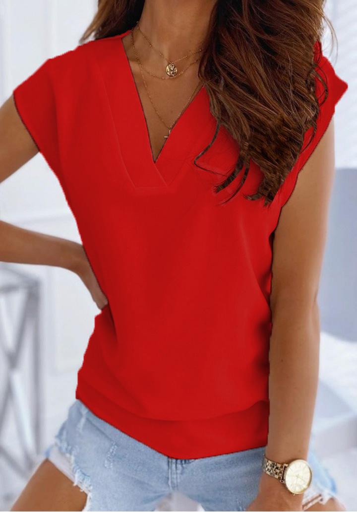 V Yaka Düşük Kol Basic Bluz (Kırmızı)