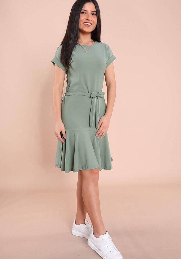 Kuşaklı yeni sezon örme crep elbise(yeşil)