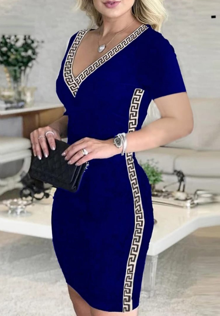 V Yaka Şeritli Kalem Elbise (Sax) - 1