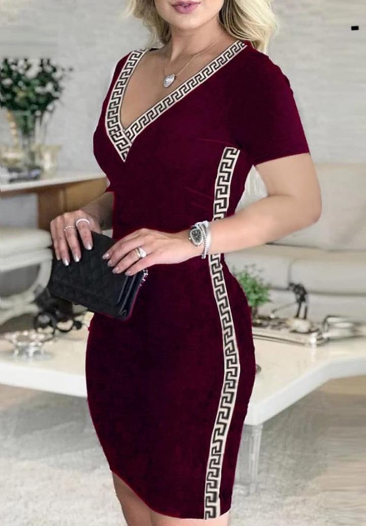 V Yaka Şeritli Kalem Elbise (Bordo) - 1
