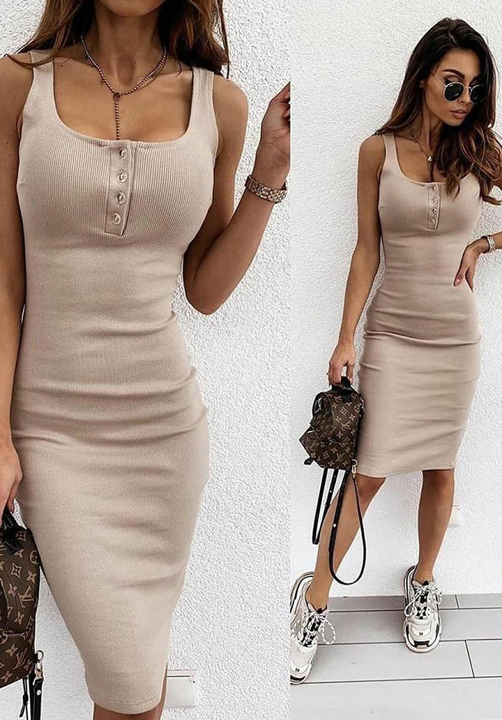 Yakası Düğmeli Kaşkorse Elbise (Vizon)