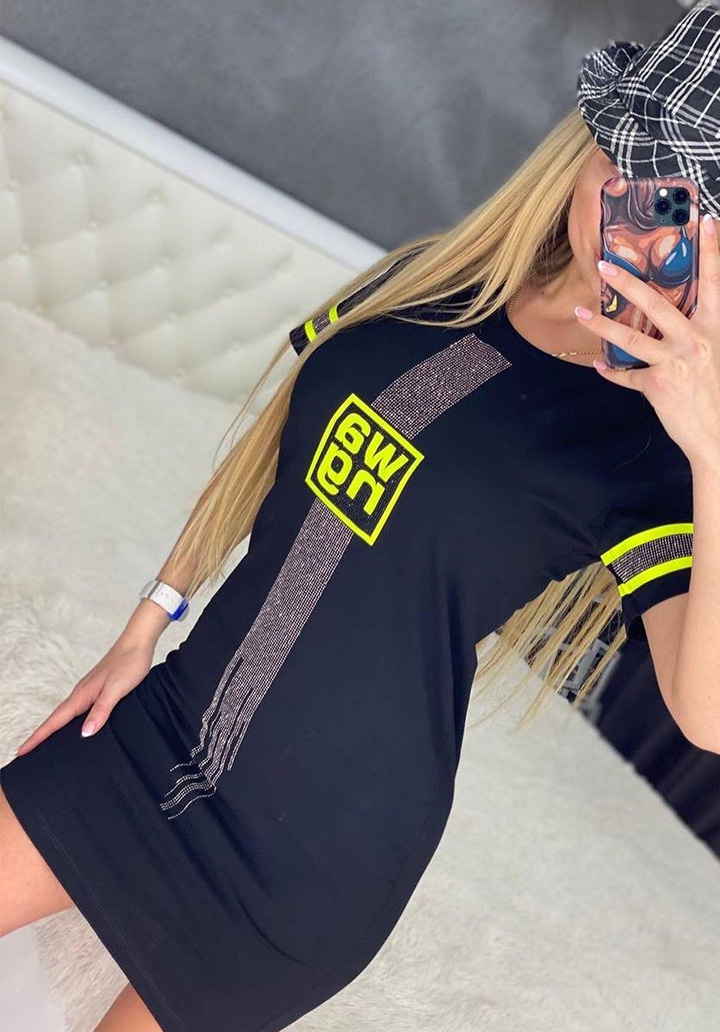 Neon Baskılı Taş Detay Spor Elbise