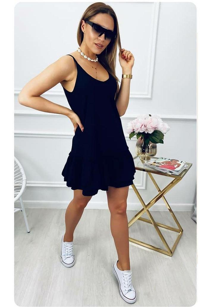 İp Askılı Crep Mini Elbise