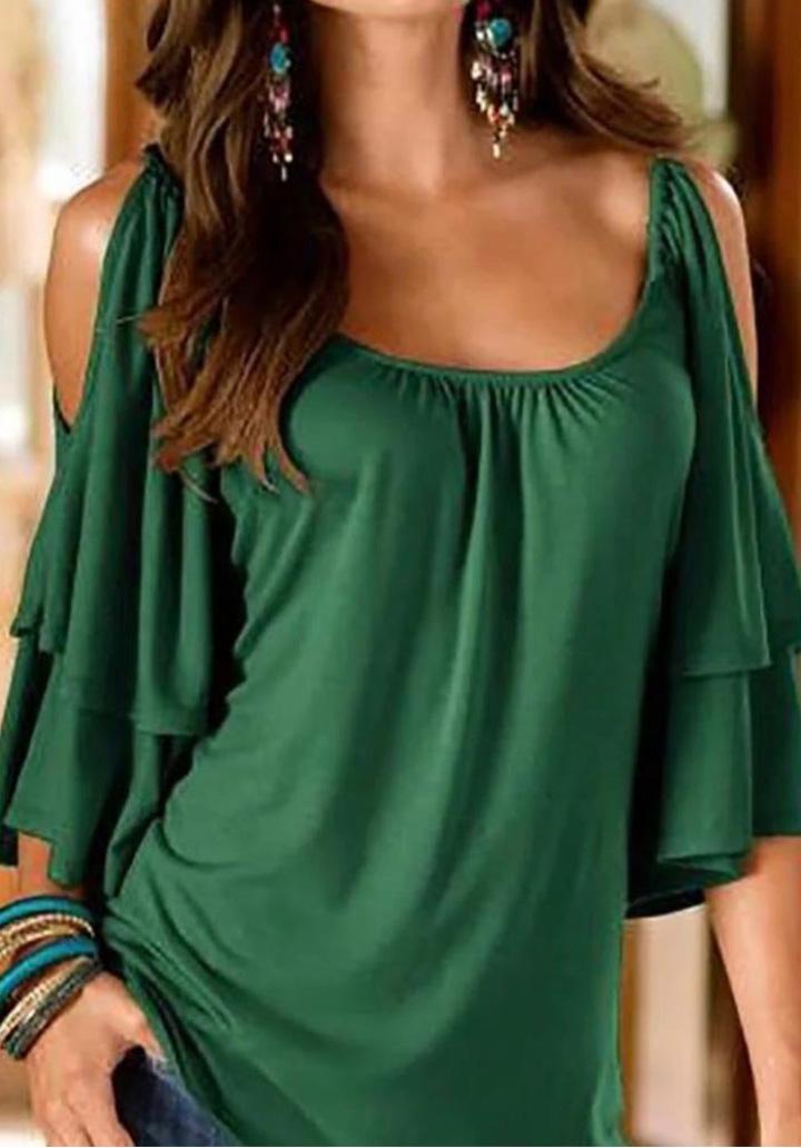 Kol volanlı omuz dekolte sandy bluz(yeşil)