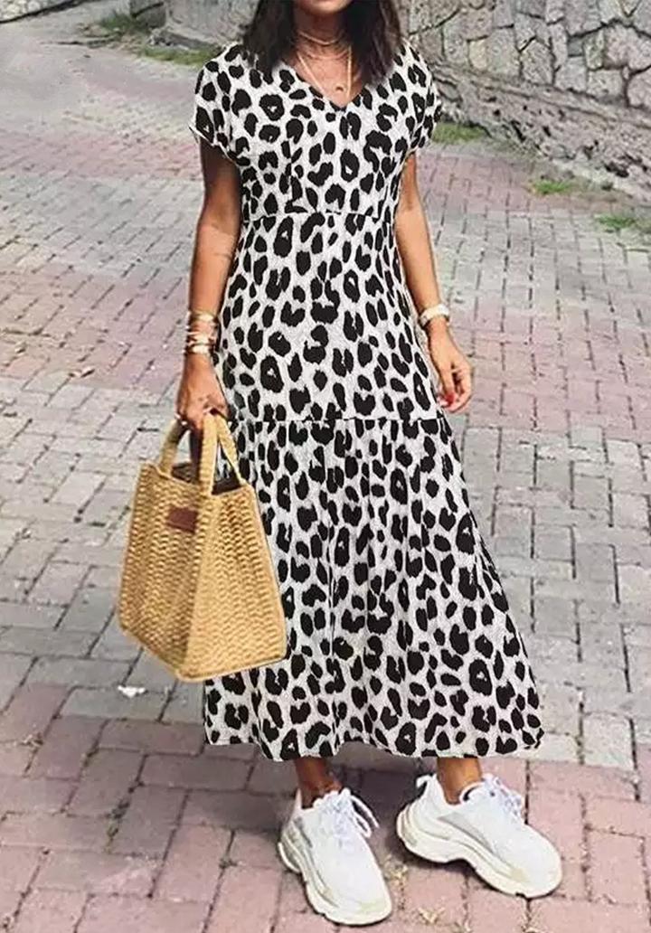 Zebra Desen Kruvaze Yaka Elbise