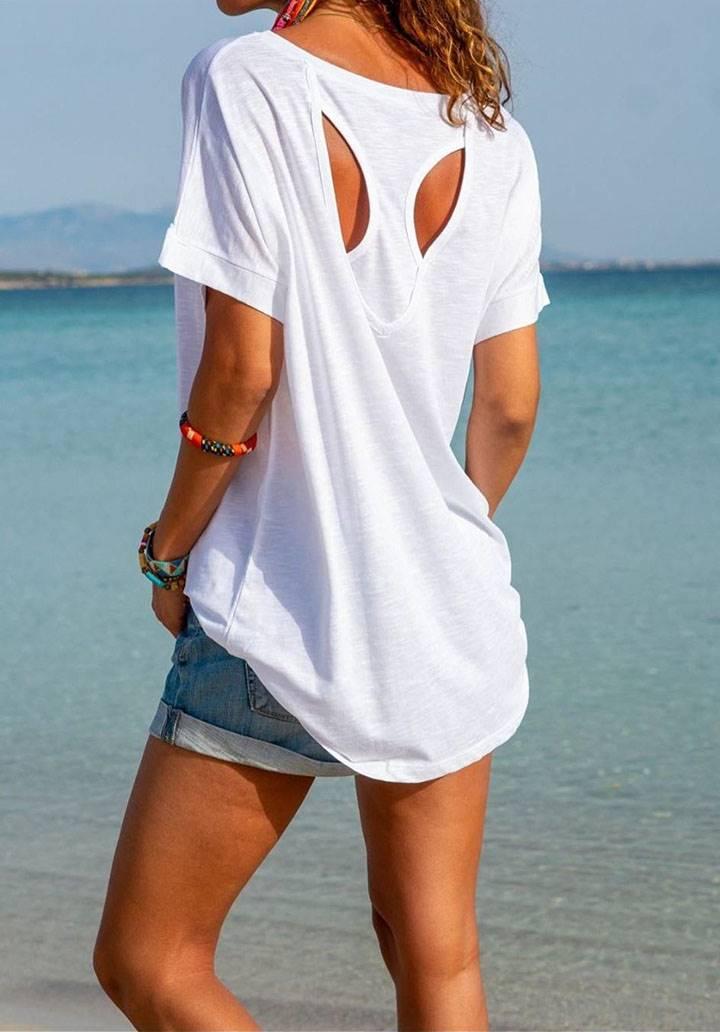 Sırt dekolteli salaş tshirt(ekru)
