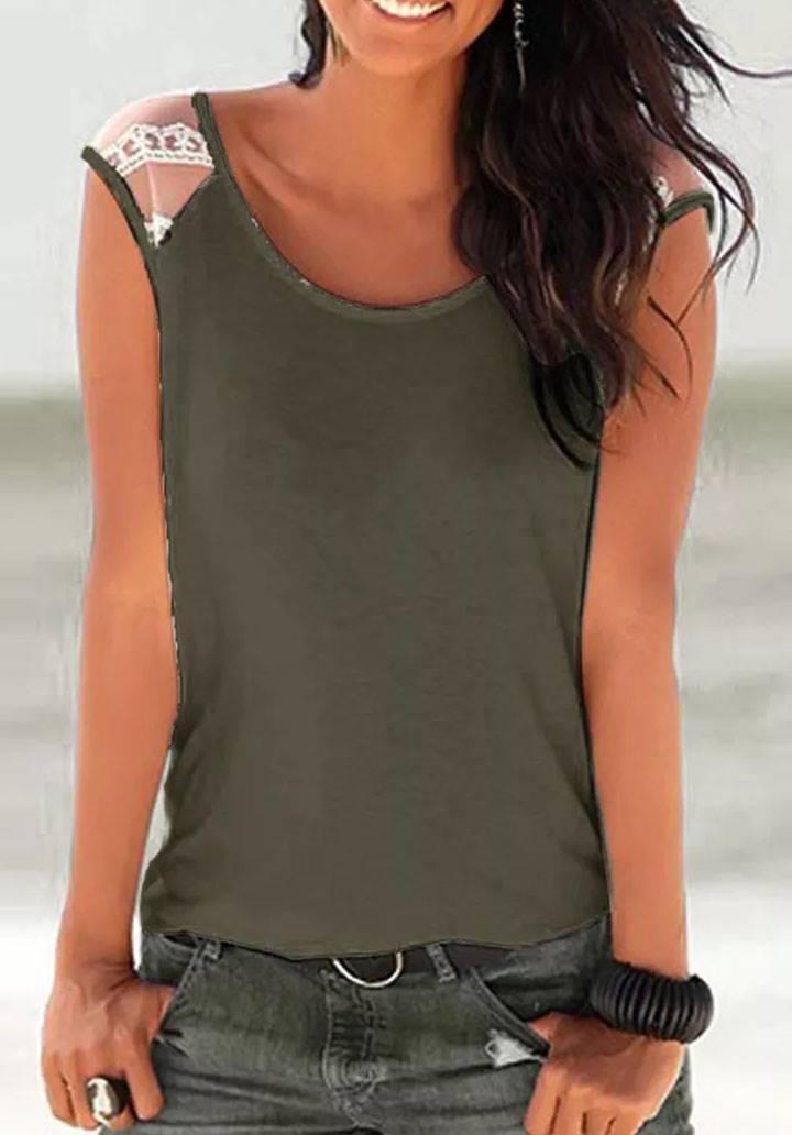 Kolsuz tül detay basic tshirt(haki)