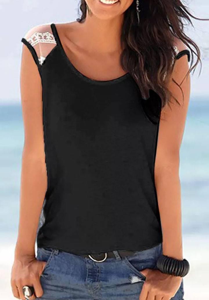 Kolsuz tül detay basic tshirt(siyah)