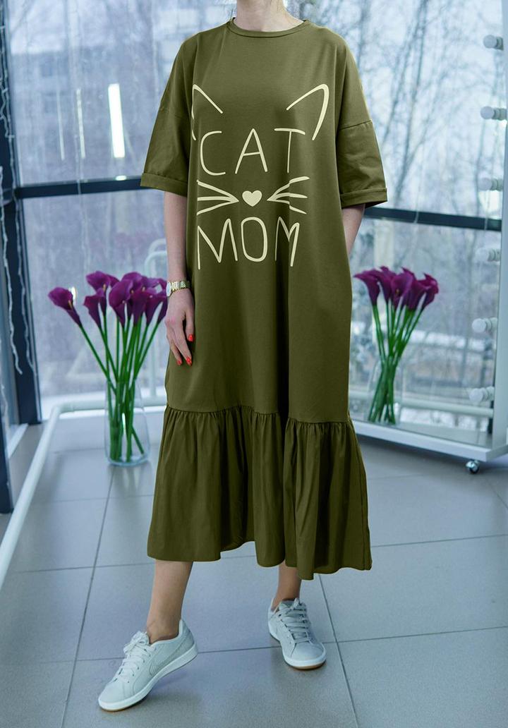 Eteği Volanlı Cat Mom Baskı Midi Boy Elbise