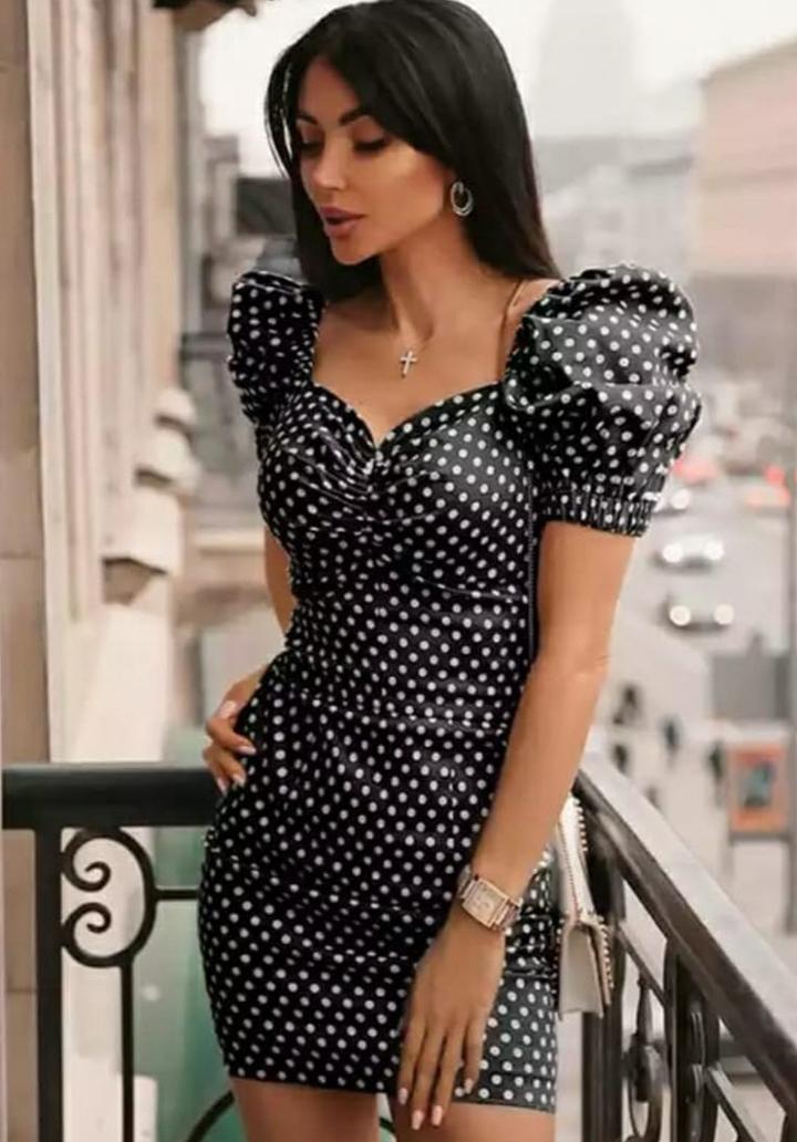 Puantiyeli Balon Kol Mini Elbise (Siyah)