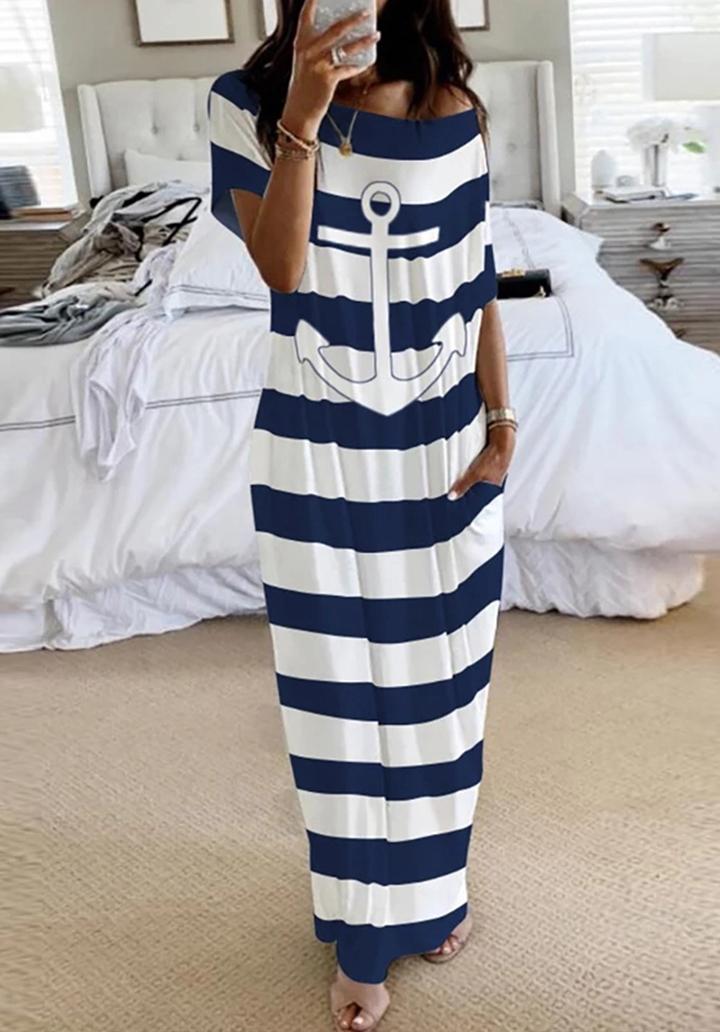 Kayık Yaka Çapa Desen Çizgili Elbise