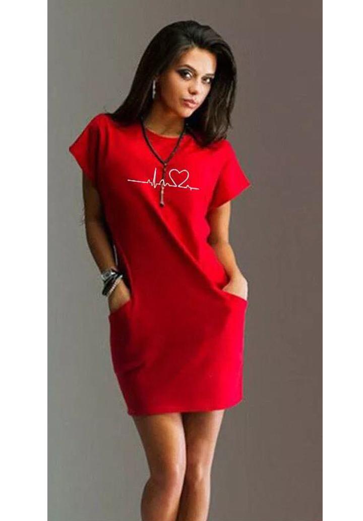 Cepli baskı detay basic elbise(kırmızı)