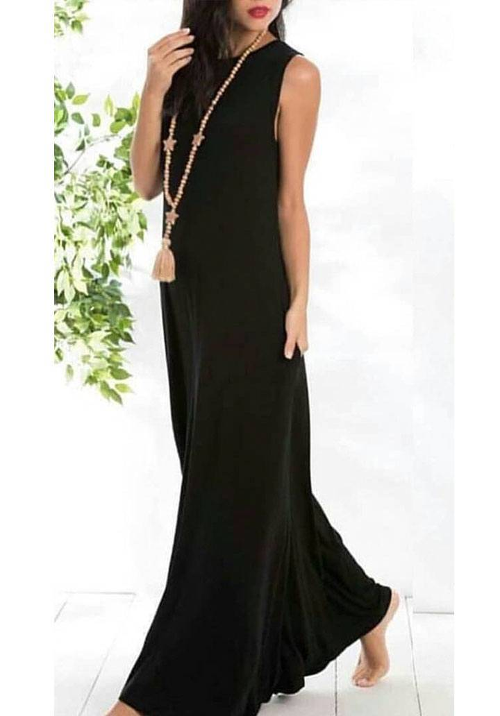 Siyah kolsuz salaş maxi boy elbise