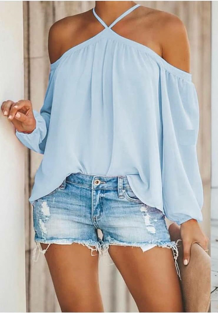 Boyun Askılı Yeni Sezon Sandy Bluz (Mavi)