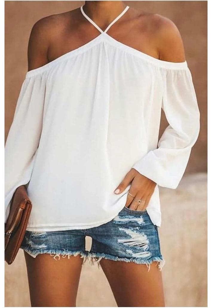 Boyun Askılı Yeni Sezon Sandy Bluz (Beyaz)