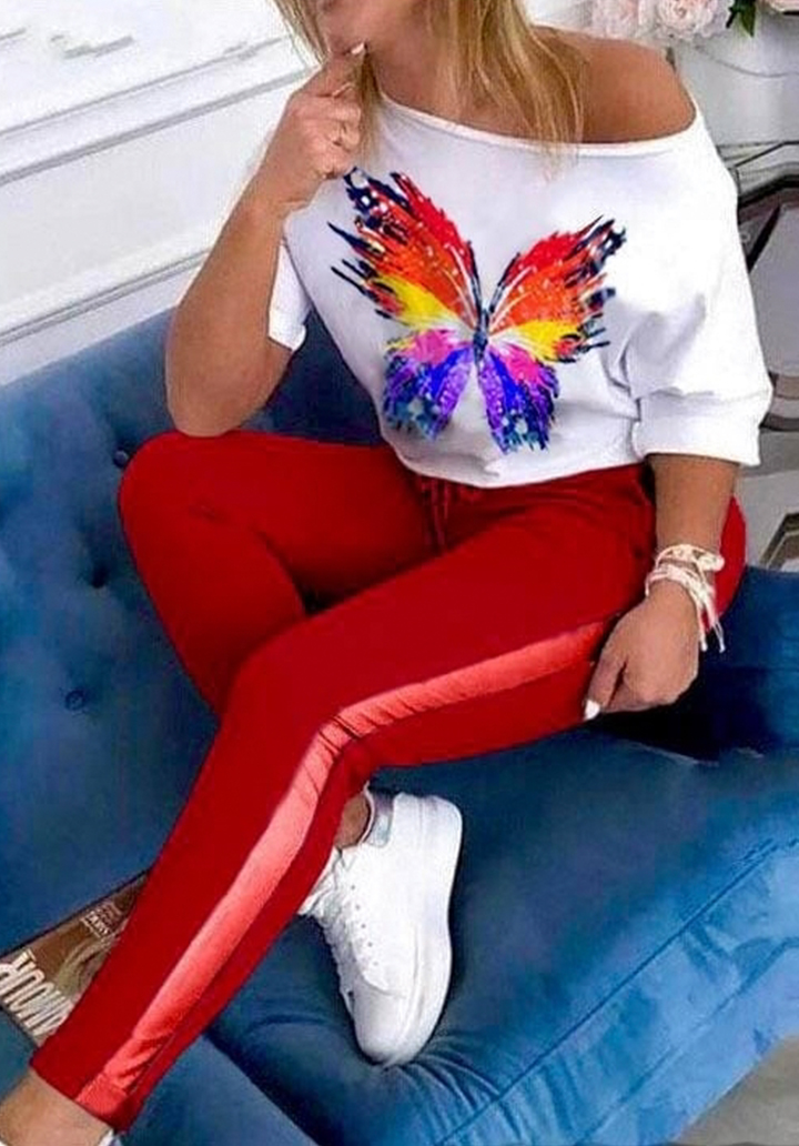 Kelebek Baskı Bluz Pantolon İkili Takım (Kırmızı)
