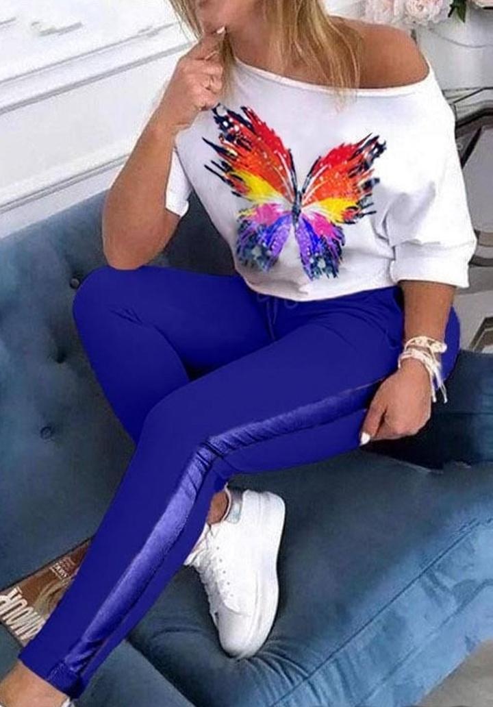 Kelebek Baskı Bluz Pantolon İkili Takım (Sax)