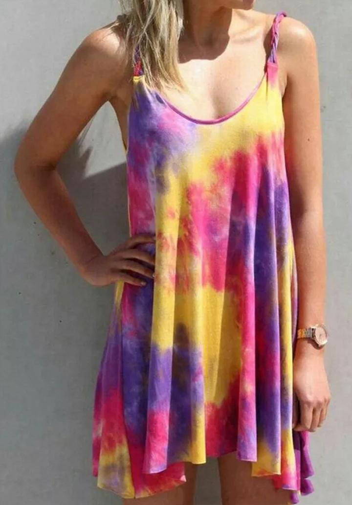 Asimetrik Kesim Batik Desen Elbise (Mor)