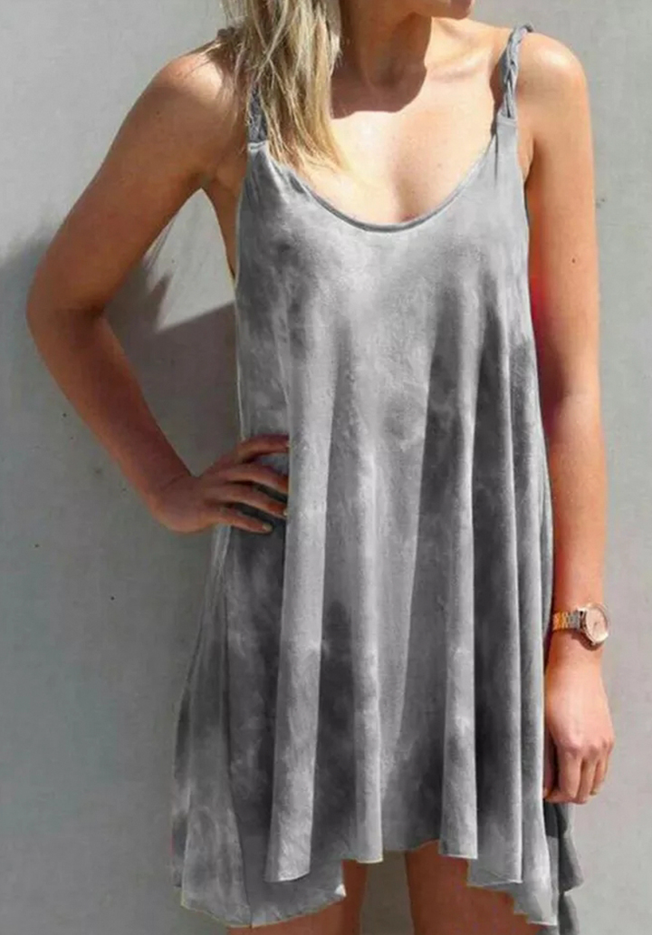 Asimetrik Kesim Batik Desen Elbise (Gri)